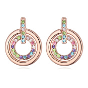 'Bungsa® Rosegoldfarbene Sweets – Round Rose Stud Earrings for Women Earrings With Multicoloured Crystals FREE HANGING Girls Earrings Pastel Crystals Studs Earrings Crystals Colourful