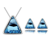 'Bungsa® Triangle Jewellery Set For Women – 1 Pair Stud Earrings & Necklace with Pendant Made From Brilliant Blue Triangle Crystal Earrings Women – Perfect for Wedding or as a gift