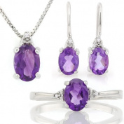 2 4/5 CARAT AMETHYST & (15 PCS) DIAMOND 925 STERLING SILVER SET .