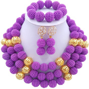 laanc 3 Rows Womens 46cm Gold Beads Ms. Necklace Bracelet Earrings Wedding Party Jewellery Sets