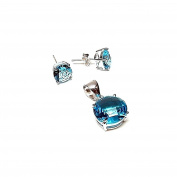 Game Act 925m silver pendant earrings stone sea water [AB0899]