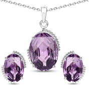 Sterling Silver Amethyst Oval Cut Pendant Set in 20.35 Carats for Women