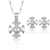 Silver-Tone 925 Sterling Silver 9mm Simulated Pearl Rotor Pattern Necklace with 9mm X 9mm Stud Earrings Jewellery Set