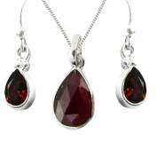 925 Sterling Silver Garnet Tear Drop GIFT SET Pendant, Fish-hook Earrings and Chain - January Birthstone - Gift Boxed