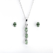 Anderson & Webb Oval Green Sapphire and Diamond Pendant 45cm and Sapphire Earrings Set