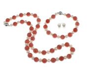 TreasureBay Elegant Natural Pink coral and Freshwater Cultured Pearl Necklace, Bracelet and Earrings set - Presented in a Beautiful Jewellery gift Box