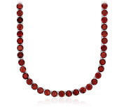 51Ct Natural Red Garnet 5 Round Tennis Necklace in Solid 925 Sterling Silver, Length- 46cm