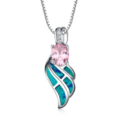 LANMPU Sterling Silver wing with Blue Green Fire Opal Inlay and pink Cubic Zirconia Pendant Necklace for Women and Girls, 46cm Box Chain