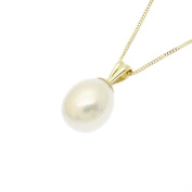 Pearl Pendant Necklace 9ct Gold 7.5mm Freshwater Teardrop Pearl