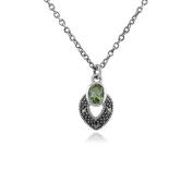 Gemondo Marcasite Necklace, Sterling Silver Art Deco Peridot & Marcasite Necklace