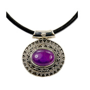 Leather & Sterling Silver Cord Amethyst Pendant Necklace