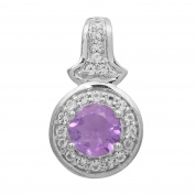 925 Sterling Silver Amethyst And Cubic Zirconia Gemstone Jewellery Pendant