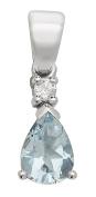 9ct White Gold Ladies Diamond Pendant with Aquamarine - 17mm*5mm