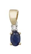 9ct Gold Ladies Diamond Pendant with Sapphire - 16mm*5mm