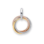 9ct 3 Colour White Rose and Yellow Gold 0.15ct Diamond Circle Pendant