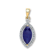 9ct Yellow Gold 0.10ct Diamond, 1.00ct Marquise Sapphire Pendant