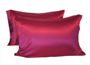 CHRISLZ 2pc Standard 50*75CM Silky Soft & Wrinkle Free Pure Colour Silk Red Pillowcase