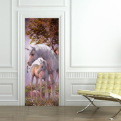3D Unicorn Nursery Room Babyroom Vinyl Wall Decals Door Stickers Wall Art Decorations