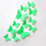 ZXYU 3d Butterfly Simulation Three - Dimensional Butterfly Wall Stickers Solid Colour TV Background Wall Decoration Stickers 12pcs,1