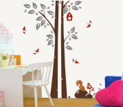 ZXYU Can Remove Wall Stickers Children Bedroom Stickers Squirrel Tree Wall Stickers