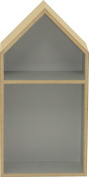 sonpó Online – Model AFA31 Kids Shelf with form of afaeps House – Handmade wooden Traditional Way In – Grey with Two Compartments