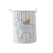SFGHOUSE Large Cartoon Horse Foldable Cotton Linen Laundry Hamper with Handles Laundry Basket Toys Organiser Clothes Holder
