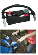 DaoRier Buggy Stroller Organiser Pushchairs Cup Bottle Drinks Food Holder 36 x 12 x 13cm Black