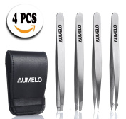 Tweezers Set 4-Piece Professional Stainless Steel Tweezers with Travel Case by Aumelo - Best Precision Eyebrow and Splinter Ingrown Hair Removal Tweezer Tip,No Coloured & Chemical Free
