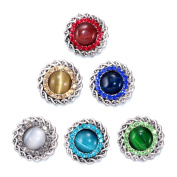 Soleebee 6pcs 18mm Alloy Rhinestones Snap Buttons Jewellery Charms - Weave Opal