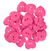 Mibo Nylon Heart Buttons 2 Hole 42 Line Pink