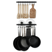 Wall Mount Hanging Utensils Industrial Iron 43cm Gourmet Kitchen Rail Bar Pot Pan Lid Rack with 10 Hooks Set of 2 Black