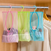 3pcs Multi-function Space Saving Hanging Mesh Bags,Bathroom Shower Organiser Set Hamper Bag Closet Rack Clothes Clip Collection Bag