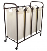 Tidy Living - 4 Bag Laundry Sorter - Rolling Hamper Cart Organiser Basket