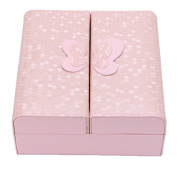 Feamos Jewellery Box, Ring Earrings Necklace Storage, Butterfly Decor Faux Leather Case, for Wedding Daily Use