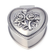 Feamos Heart Shape Jewellery Box Antique Alloy Case for Ring Earring Necklace Storage