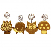 Olpchee 4pcs Lovely Wooden Base Memo Message Note Clips Name Card Holder Photo Clip Holders