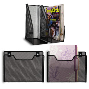 2 Magazine Holders + 2 Wall File Organisers ~ 4-Piece Set ~ Includes Mounting Hardware