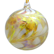 Yellow Amber White 8cm Glass Friendship Ball