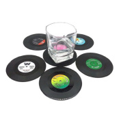 Drink Coasters, 6 Silicone Retro CD Record Rubber Table Coasters Non-Slip No Spills, Best Holders For Coffee Beer Mug Wine Glass Bottle, Prevents Table Top & Furniture From Stains, For Home and Bar Use