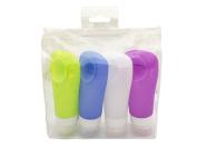 CYBERNOVA 4Pcs/Set (3.15OZ/ 90ml)Portable Silicone Travel Bottles Set- Lotion Points Shampoo Container