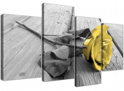 Yellow and Grey Canvas Wall Art of Rose Pictures for your Living Room- 4255 - Wallfillers®