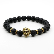 IzuBizu London - Black Lion Bracelet 18CT Gold Lava Stone Beads - Free Gift Box