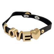 idealway Punk PU Leather Alloy Letter HOPE LOVE SWEET Bracelet PUDDIN Choker Necklace