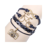 Z-P Vintage Bohemia Style Bracelet Wooden Bead Beaded Jewellery Alloy Leather Braided Bracelet