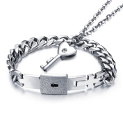 LALOPEZ Men & Women Titanium Stainless Steel Womens Key Pendant Necklace & Mens Heart Lock Bracelet