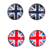 8mm Stainless Steel Union Jack Stud Earrings. One Pair Coloured, One Pair Black and White