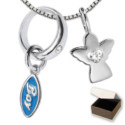 Clever Jewellery Silver Baptism Ring with Angel Pendant 10 mm Zirconia White High Gloss with 2 Stone Pendant Boy Light Blue and Venice Chain 36 cm Rhodium-Plated 925 Sterling Silver in Case