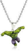 Marvel Comics Boys' Stainless Steel Hulk Figure Chain Pendant Necklace, 41cm