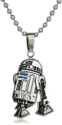 Star Wars Jewellery Unisex R2-D2 Stainless Steel and Enamel Cut Out Kid's Pendant Necklace, 48cm