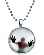 Yumilok Punk Rock Boy Glow in the Dark Round Luminous Pendant Alloy Resin Locket Necklace for Women/Men/Children, Fluorescent Blue